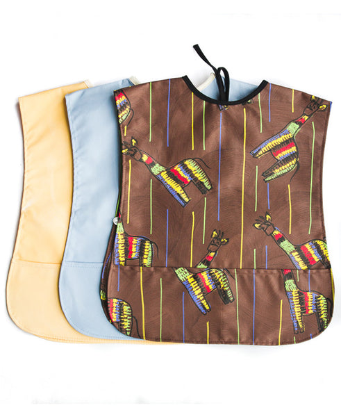 Giraffe On Brown Assorted Pack Of 3 Kids Art Aprons 2-5 years