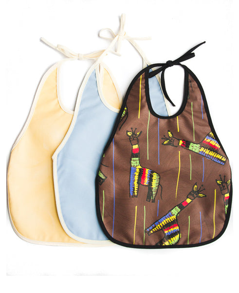 Giraffe On Brown Assorted Pack Of 3 Baby Bibs
