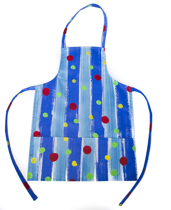 Spots On Blue Stripes Kids Full Apron