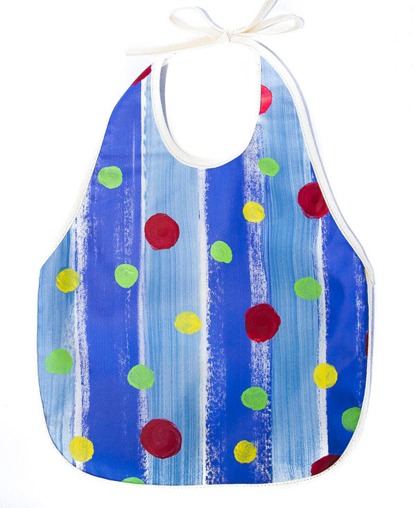 Spots On Blue Stripes Baby Bib