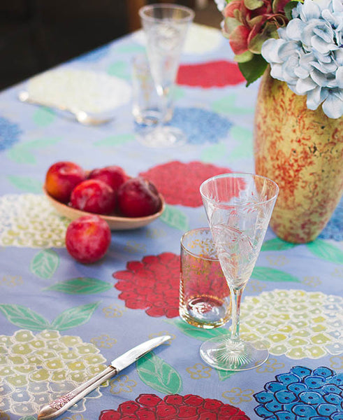 Hydrangeas on Blue Background Tablecloth
