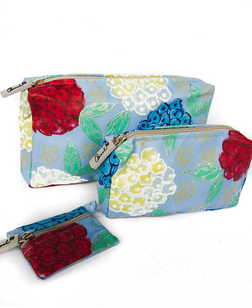 Hydrangeas on Blue Background Cosmetic Bag Set Of 3