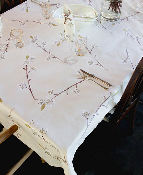 Silver and Gold Cherry Blossoms Tablecloth