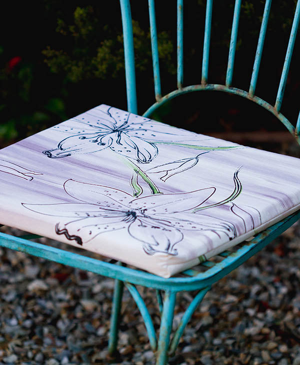 Lilac Tiger Lily Chair Cushion