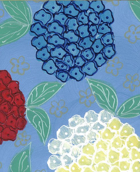Hydrangeas on Blue Background Fabric