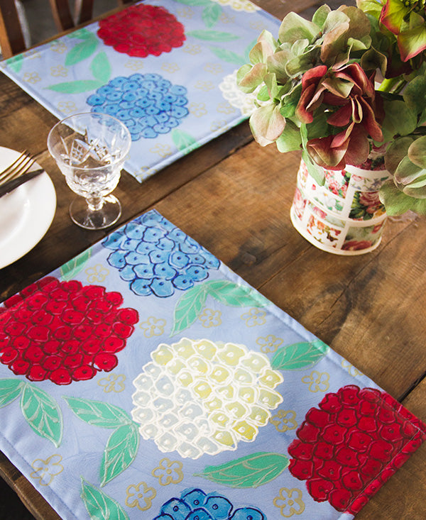 Hydrangeas on Blue Background Placemats