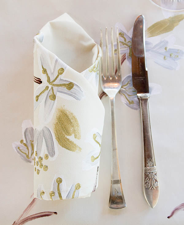 Silver and Gold Cherry Blossoms Napkins