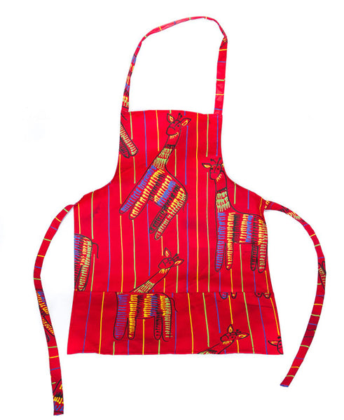 Giraffe On Red Kids Full Apron