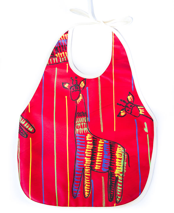 Giraffe On Red Baby Bib