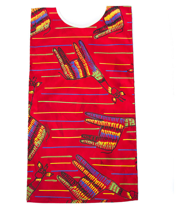 Giraffe On Red Kids Art Apron 6-8 years