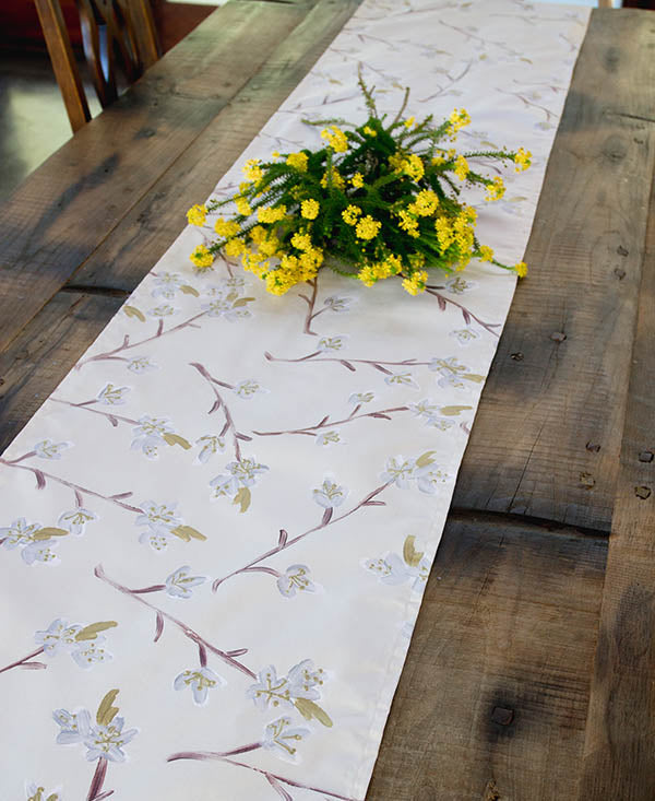 Silver and Gold Cherry Blossoms Runner