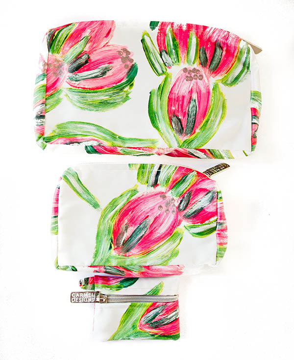 Pink Carnival Protea Cosmetic Bag Set Of 3