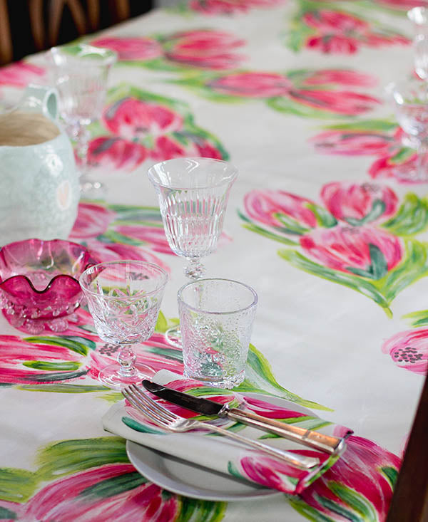 Pink Carnival Protea Tablecloth