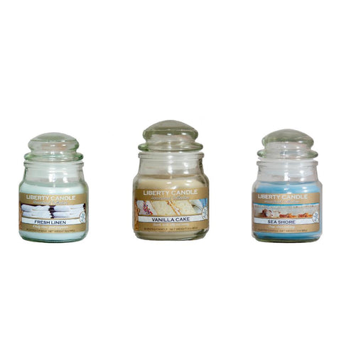 Liberty Candle Fresh Linen, Vanilla Cake & Sea Shore 3oz Jar Candle  Set of 3