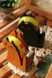 cute cat shape wooden tape dispenser