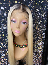 Platinum Frontal Wig With Dark Roots (Transparent Lace)