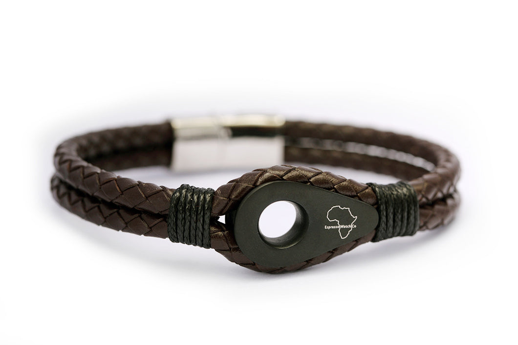 Double strand leather band with gunmetal detail