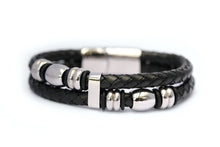 Load image into Gallery viewer, Double stand leather bracelet with stainless steel clasp