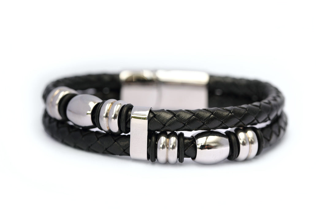 Double stand leather bracelet with stainless steel clasp