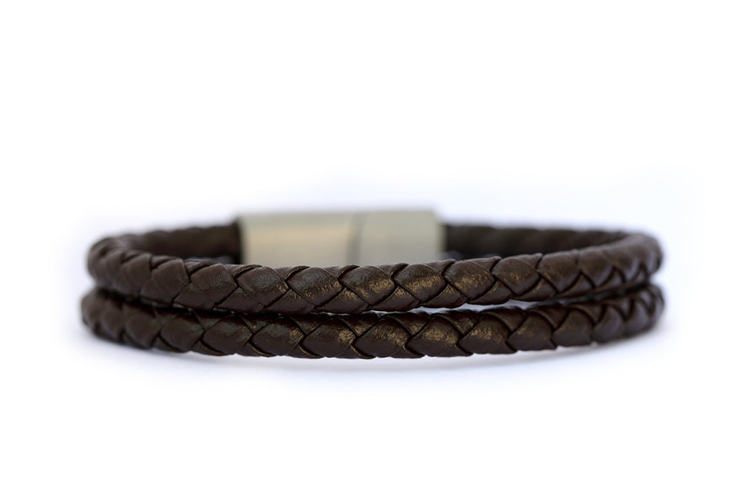 Double strand leather band with stainless steel clasp