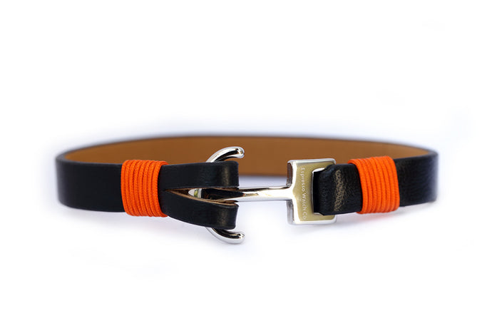 Leather strap with stainless steel anchor
