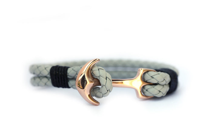 Braided leather strap with stainless steel anchor
