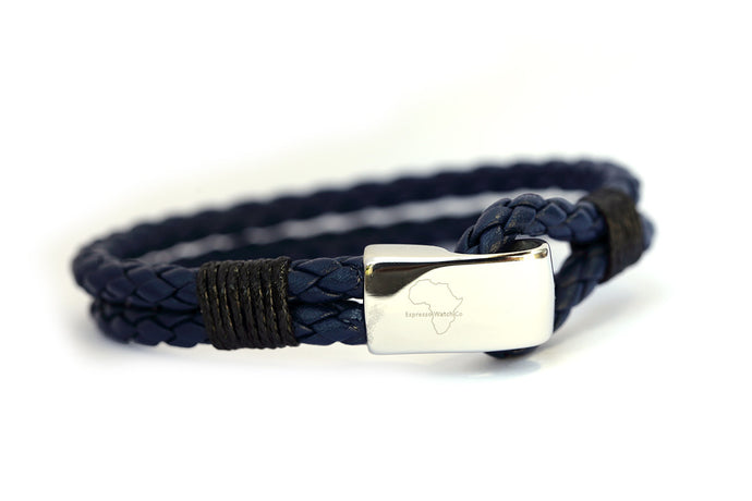 Navy braided leather with stainless steel clasp