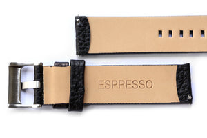 Black leather textured flat strap