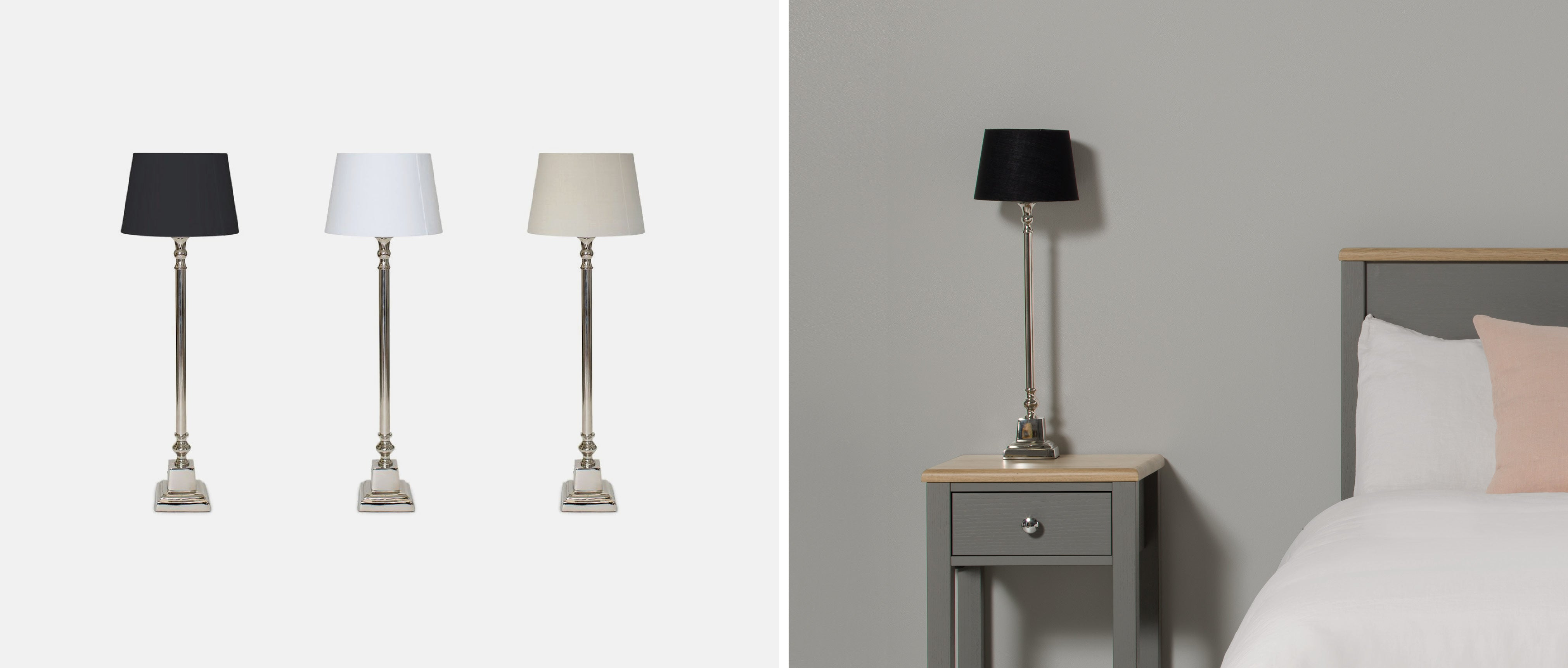 nickel table lamp for a bedside table
