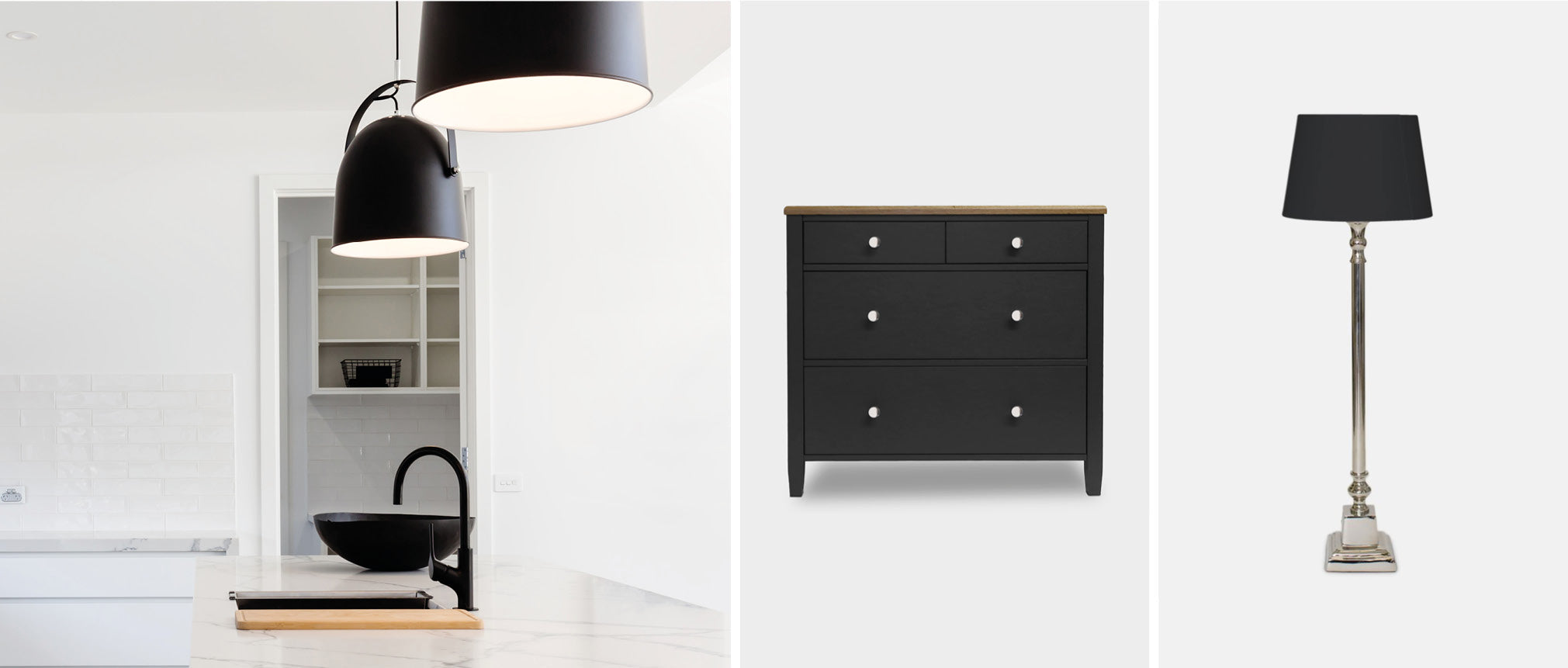 Monochrome wardrobe and table lamp in charcoal