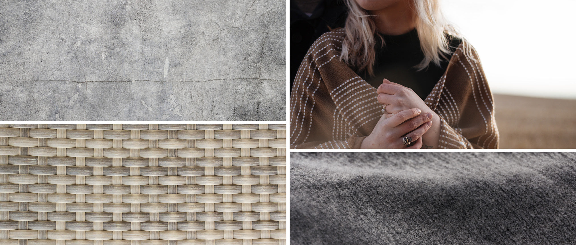 Blanket and textures made from natural materials