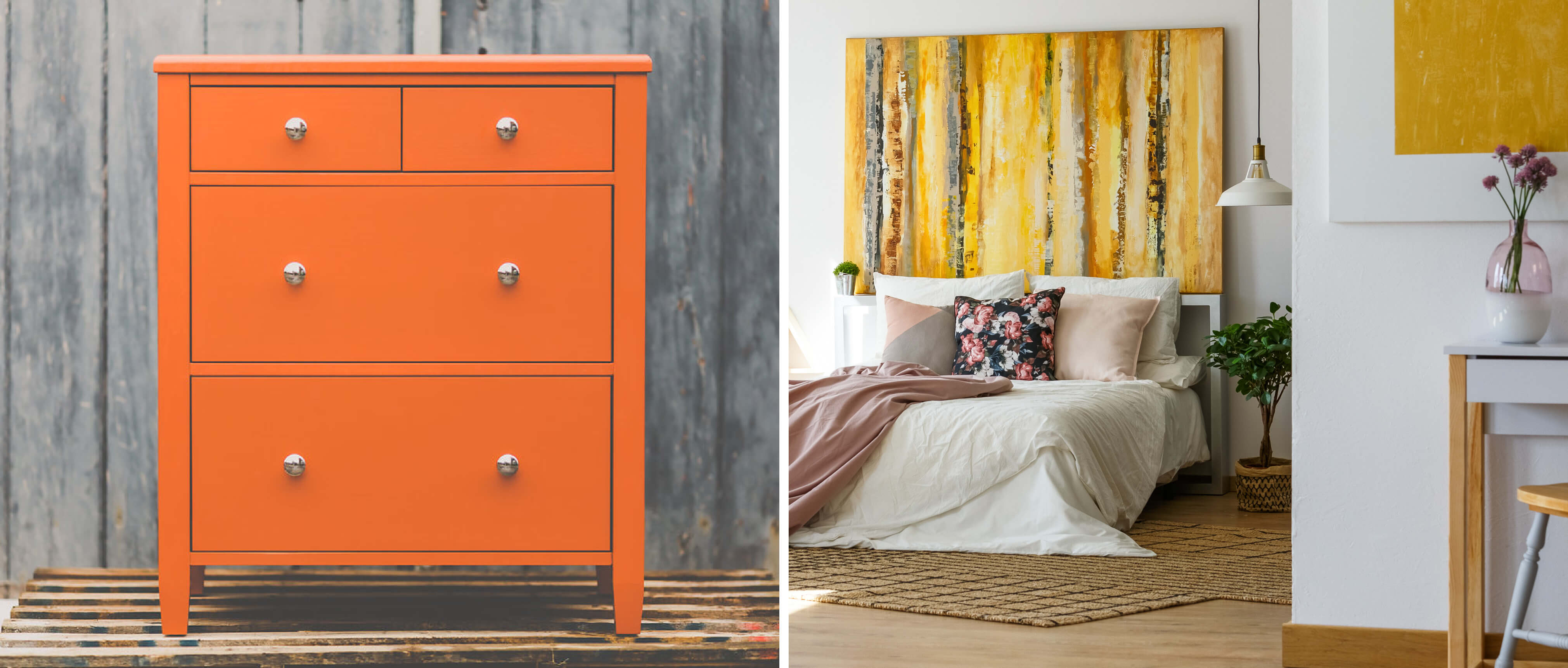 orange dressing table and spring colour trends interior