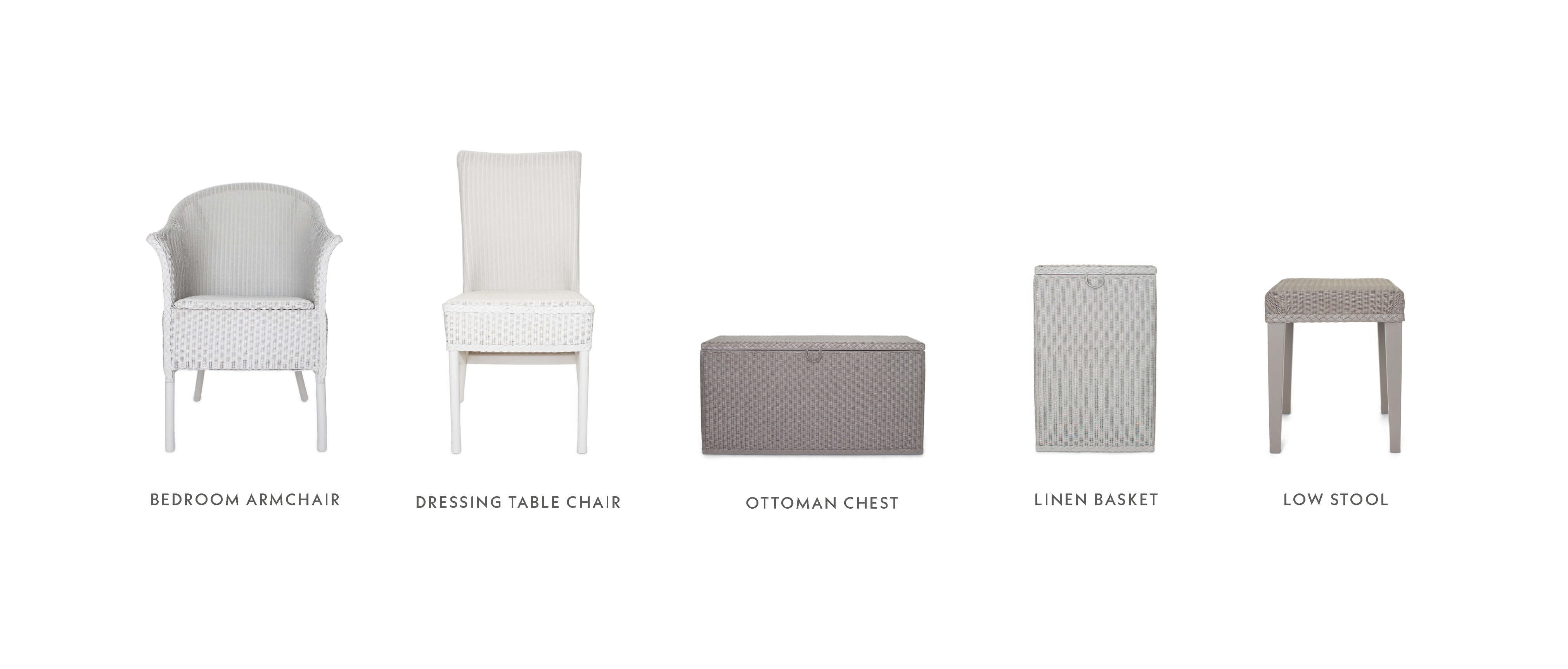 Lloyd Loom furniture collection, armchair, ottoman chest, linen basket, low stool