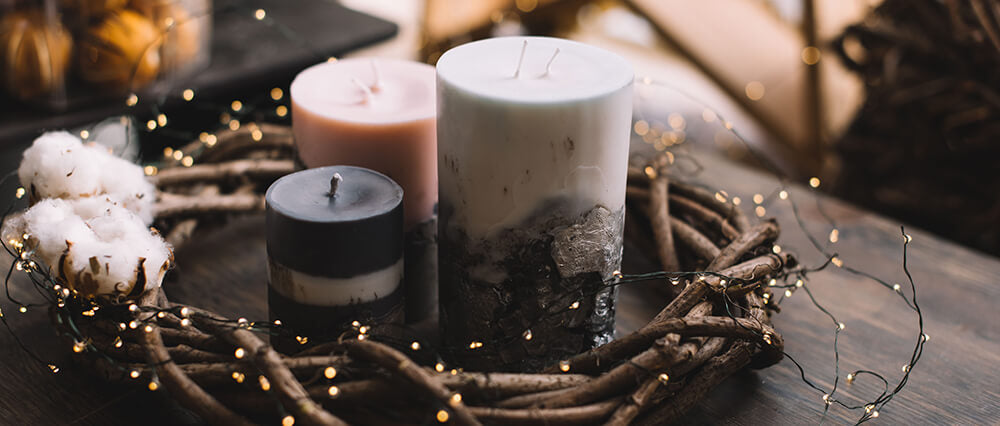 sustainable candles on a wooden table