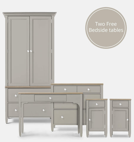 Dove Grey 5 Piece Bedroom Furniture Set
