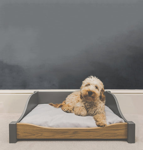 Luxury wooden dog bed - size medium