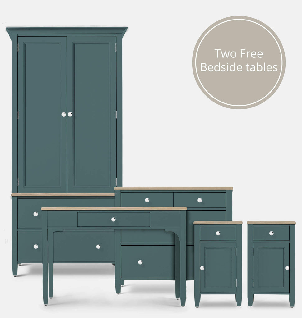 Salcombe Blue 5 Piece Bedroom Furniture Set | The English Cabinet ...