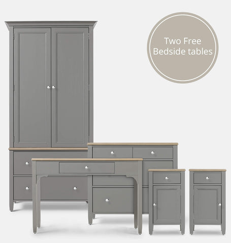Thistle Grey 5 Piece Bedroom Furniture Set