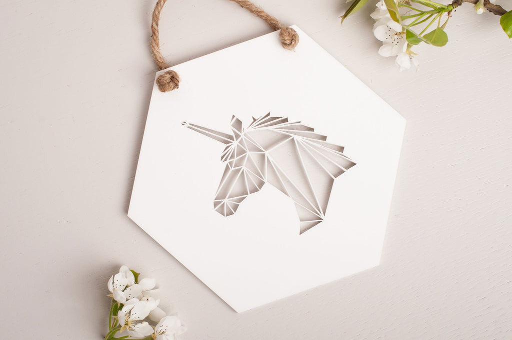 Geometric Unicorn Wall Decor
