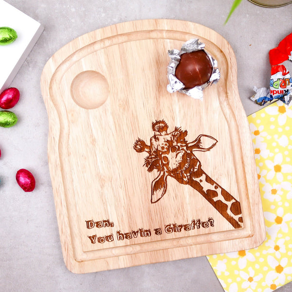 Funny Giraffe Breakfast Board