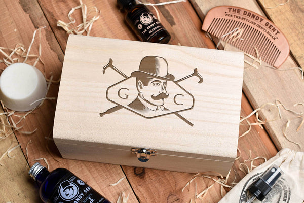 Wooden box on a wooden table top with engraved head and personalised engraving by Original Monkey Gifts.