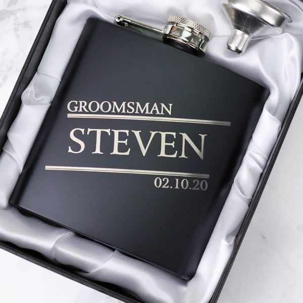 BEST MAN PROPOSAL, GROOMSMEN GIFT HIP FLASK OMG15-HIPBLK