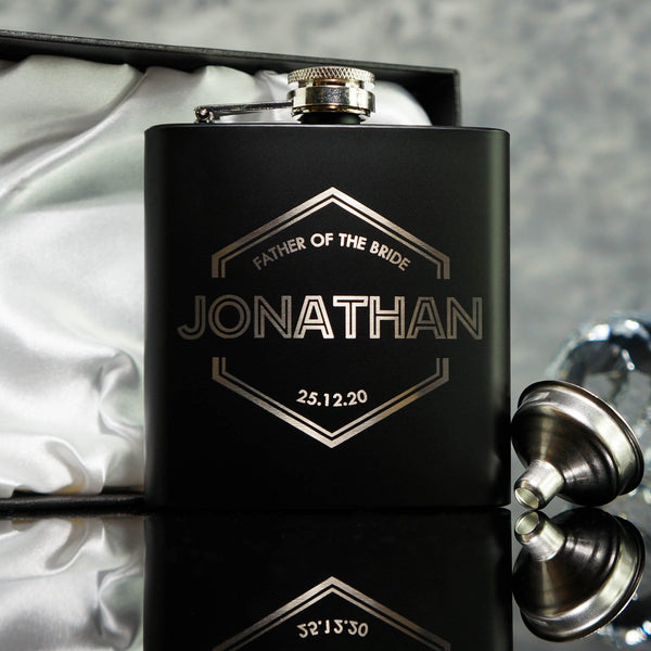 GROOMSMAN HIP FLASK OMG13-HIPBLK