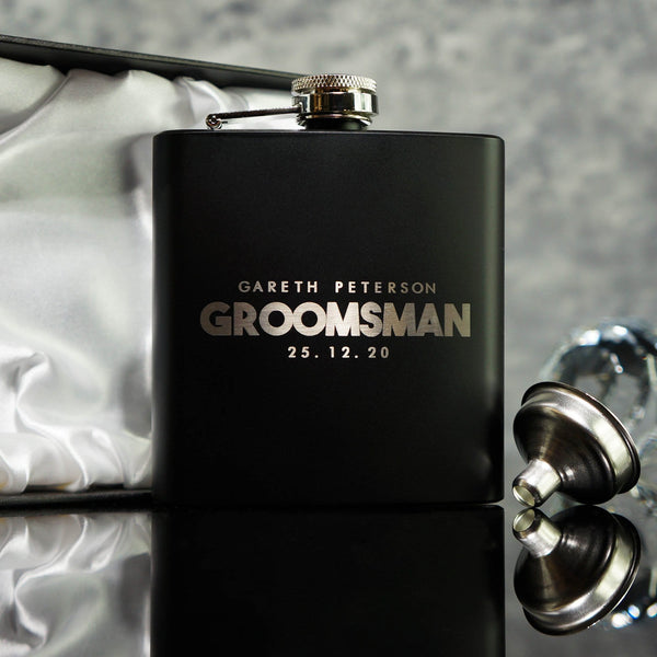 GROOMSMAN HIP FLASK BEST MAN GIFT OMG16-HIPBLK