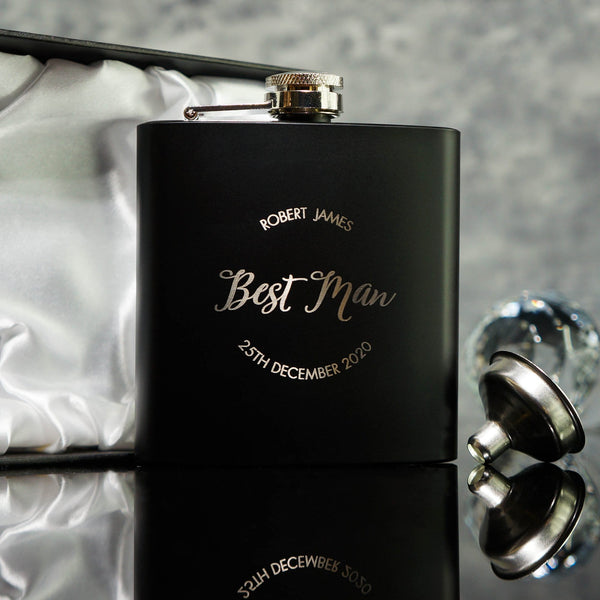 HIP FLASK BEST MAN GIFT OMG17-HIPBLK