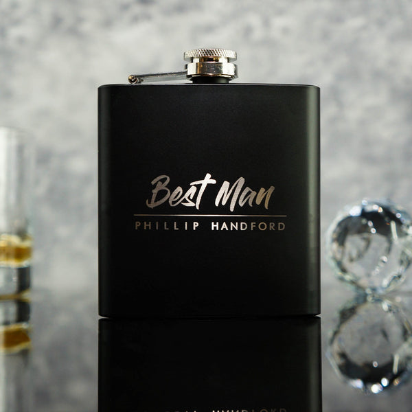 GROOMSMAN HIP FLASK BEST MAN GIFT OMG19-HIPBLK