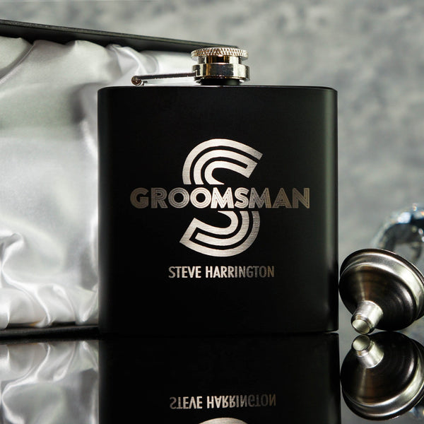 GROOMSMAN HIP FLASK BEST MAN GIFT OMG20-HIPBLK