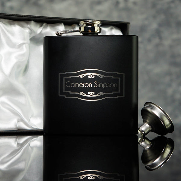 VINTAGE PANEL DESIGN HIP FLASK OMG3-HIPBLK