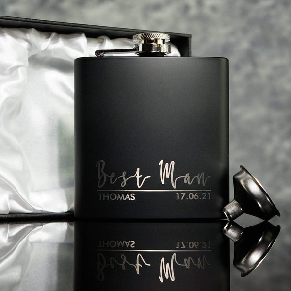 PERSONALISED MATTE BLACK GROOMSMAN HIP FLASK  OMG4-HIPBLK