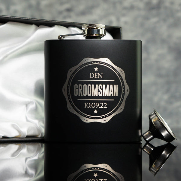 ENGRAVED HIP FLASK BEST MAN GIFT OMG9-HIPBLK